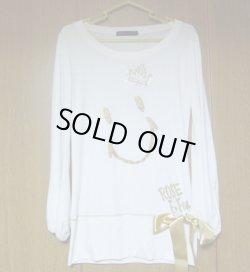 画像1: にこちゃん長袖白Tシャツ リボン付き♥